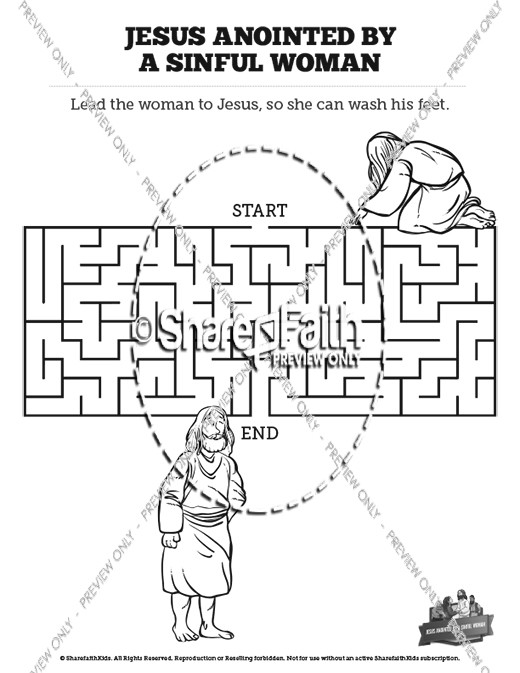 Luke 7 Woman Washes Jesus Feet Bible Mazes