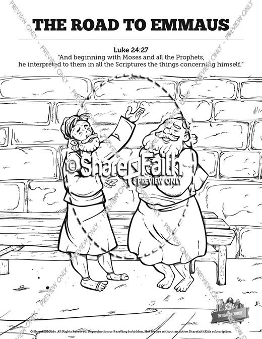 luke 24 road to emmaus sunday school coloring pages - Sunday School Coloring Pages