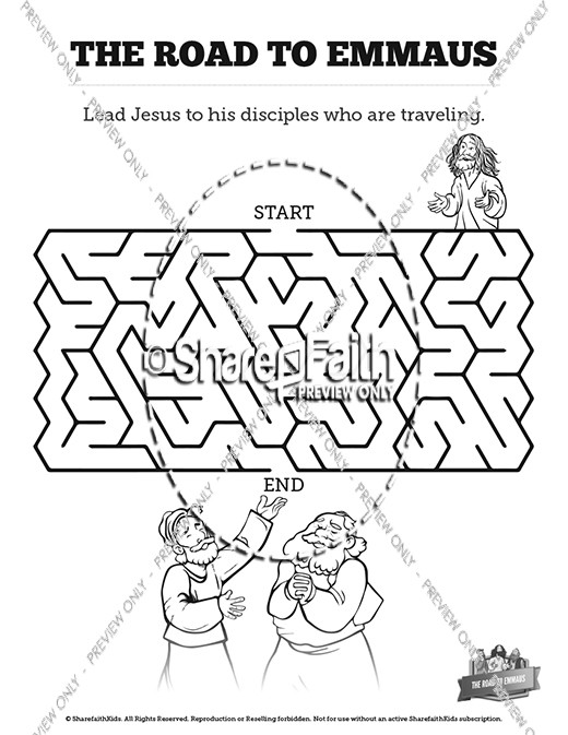 Luke 24 Road to Emmaus Bible Mazes