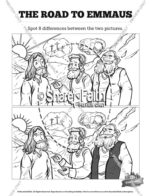 Luke 24 Road to Emmaus Kids Spot The Difference