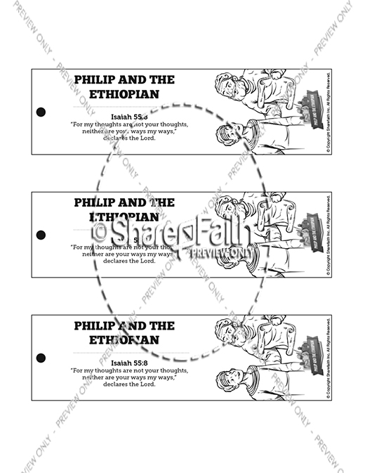 Acts 8 Philip and the Ethiopian Bible Bookmarks
