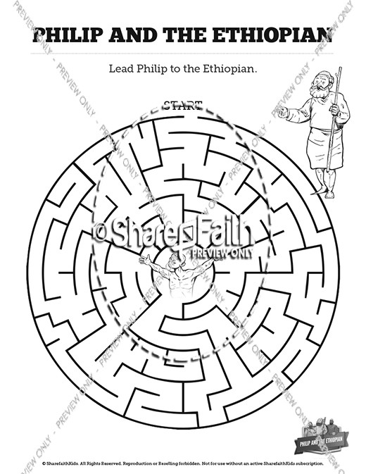 Acts 8 Philip and the Ethiopian Bible Mazes