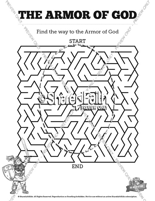 Ephesians 6 The Armor of God Bible Mazes