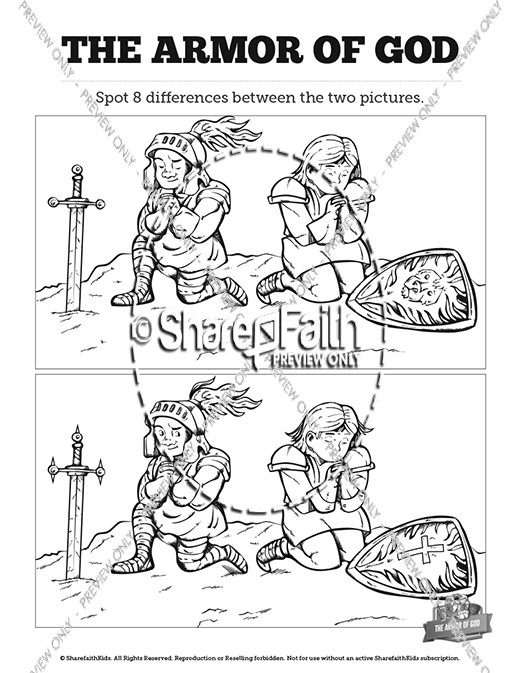 Ephesians 6 The Armor of God Kids Spot The Difference