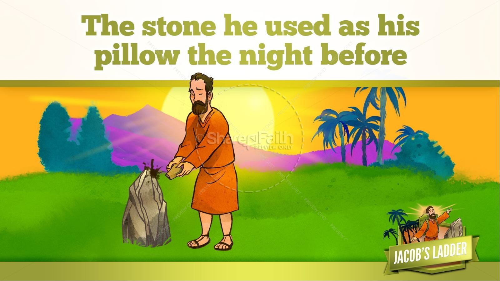 Genesis 28 Jacobs Ladder Kids Bible Story | slide 27