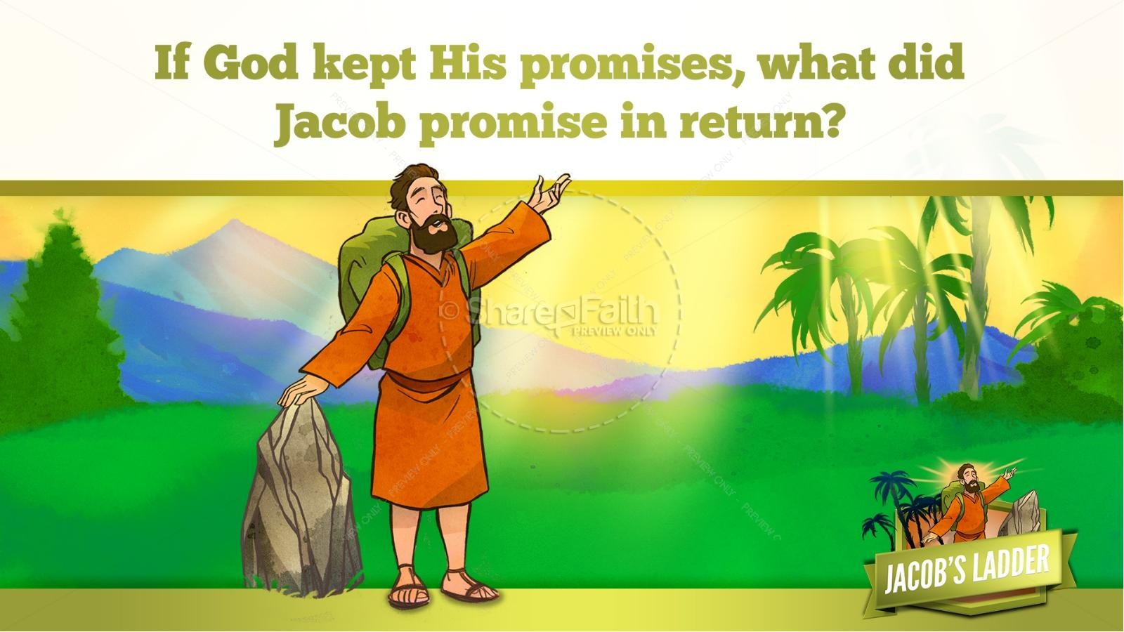 Genesis 28 Jacobs Ladder Kids Bible Story | slide 30