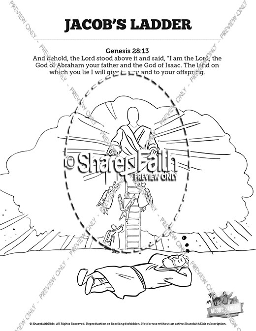genesis 28 jacobs ladder sunday school coloring pages