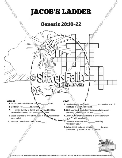 Genesis 28 Jacobs Ladder Sunday School Crossword Puzzles