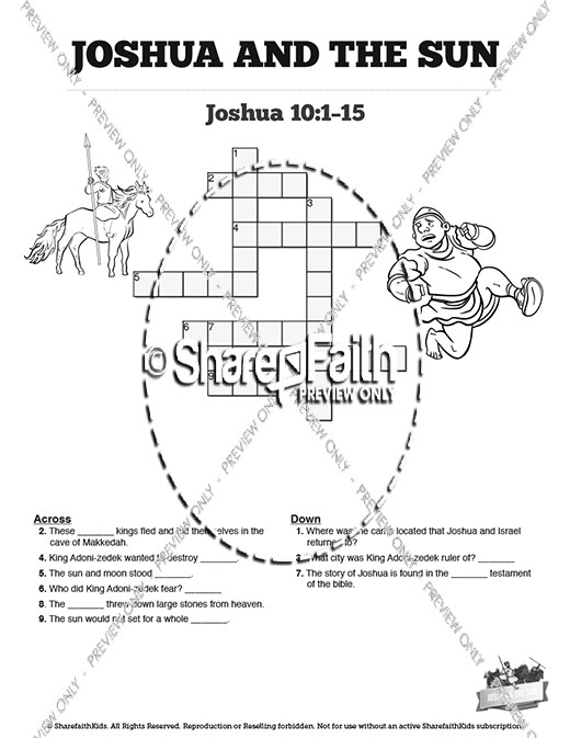 Joshua 10 Sun Stand Still Sunday School Crossword Puzzles