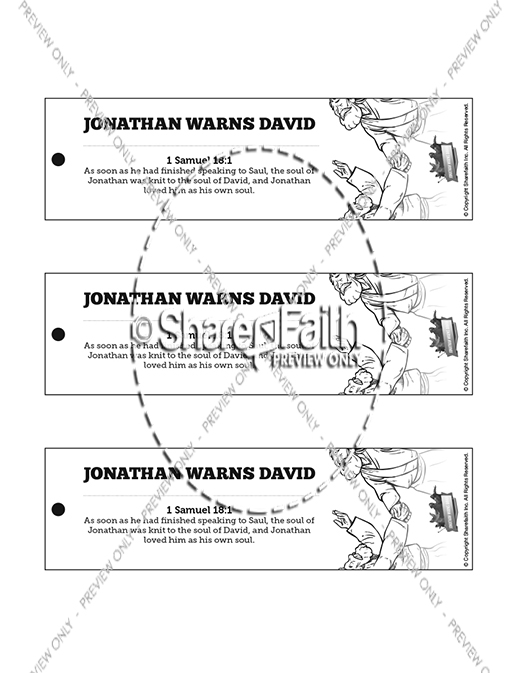 1 Samuel 20 David and Jonathan Bible Bookmarks