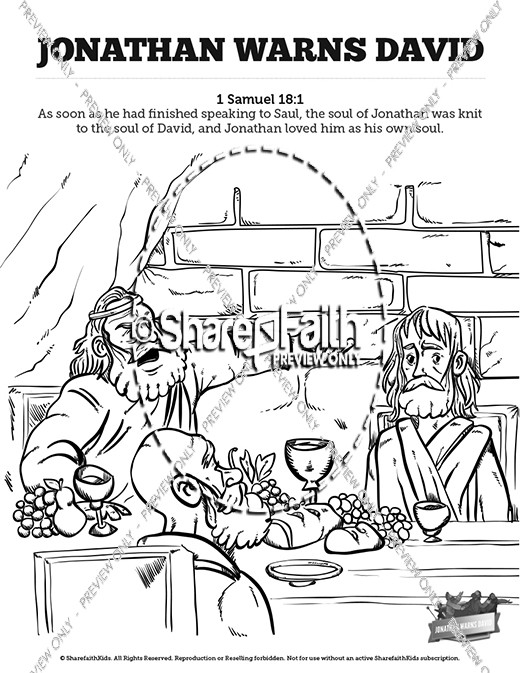1 Samuel 20 David And Jonathan Sunday School Coloring Pages