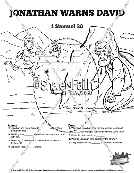 1 Samuel 20 David and Jonathan Sunday School Crossword Puzzles