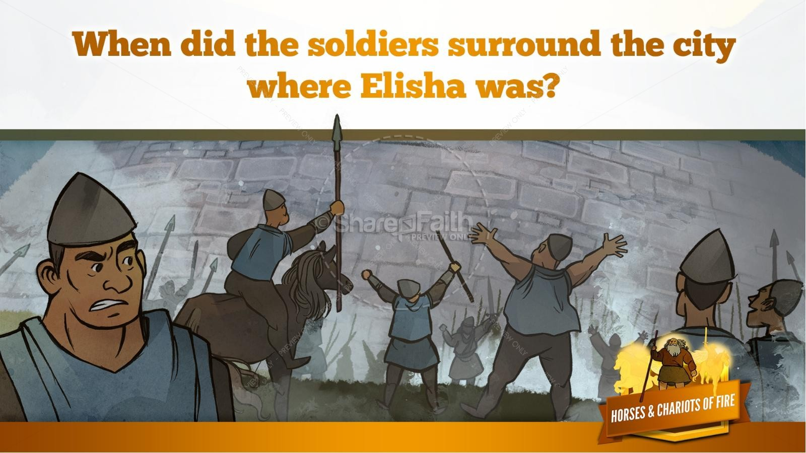 2 Kings 6 Horses and Chariots of Fire Kids Bible Story | slide 21