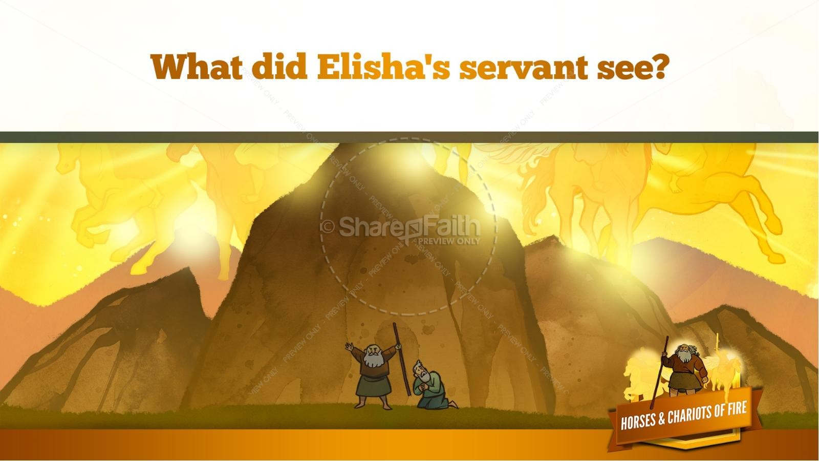 2 Kings 6 Horses and Chariots of Fire Kids Bible Story | slide 33