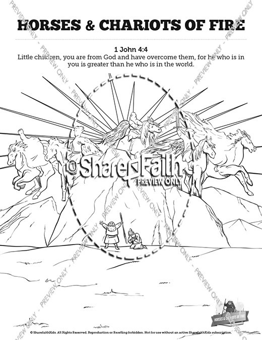 2 Kings 6 Horses and Chariots of Fire Sunday School Coloring Pages