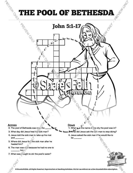 John 5 Pool of Bethesda Sunday School Crossword Puzzles