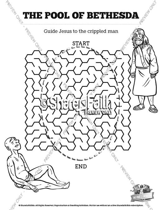 John 5 pool of bethesda sunday school coloring pages for Healing at the pool of bethesda coloring page