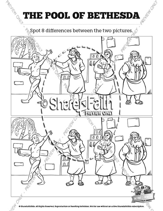 healing at the pool of bethesda coloring page - john 5 pool of bethesda kids bible stories kids bible