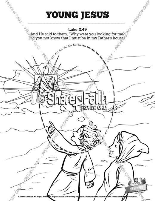 Jesus As A Child Sunday School Coloring Pages