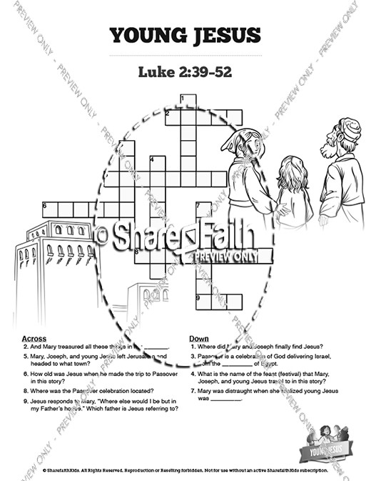Jesus As A Child Sunday School Crossword Puzzles