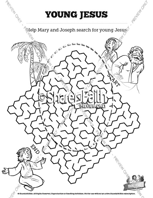 Jesus As A Child Bible Mazes