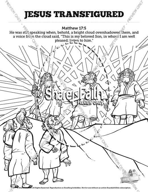 Matthew 17 The Transfiguration Sunday School Coloring Pages
