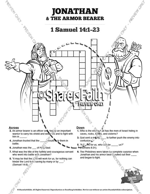 Jonathan And His Armor Bearer Sunday School Crossword Puzzles