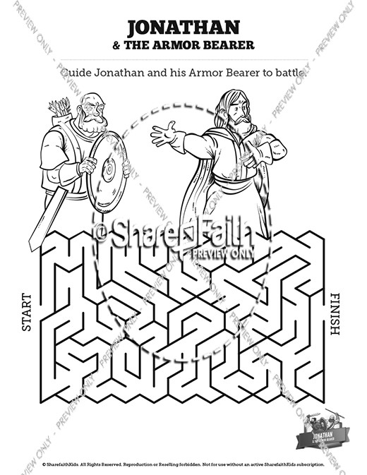 Jonathan And His Armor Bearer Bible Mazes