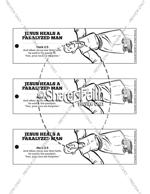 Luke 5 jesus heals the paralytic bible bookmarks for Jesus heals a paralytic coloring page