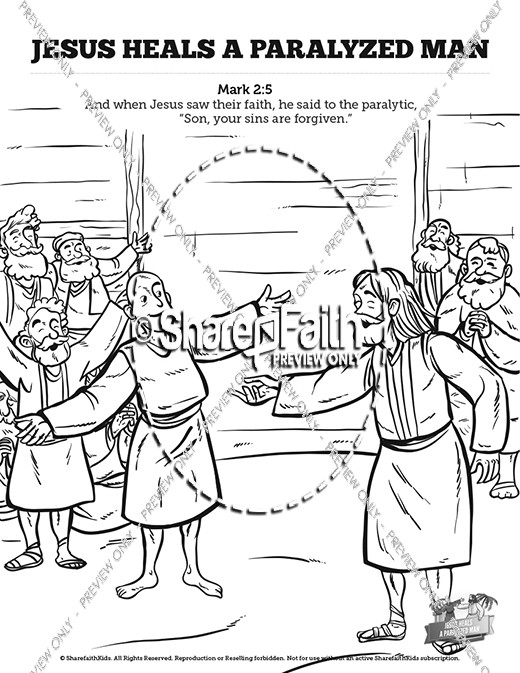 Luke 5 jesus heals the paralytic sunday school coloring pages for Jesus heals a paralytic coloring page