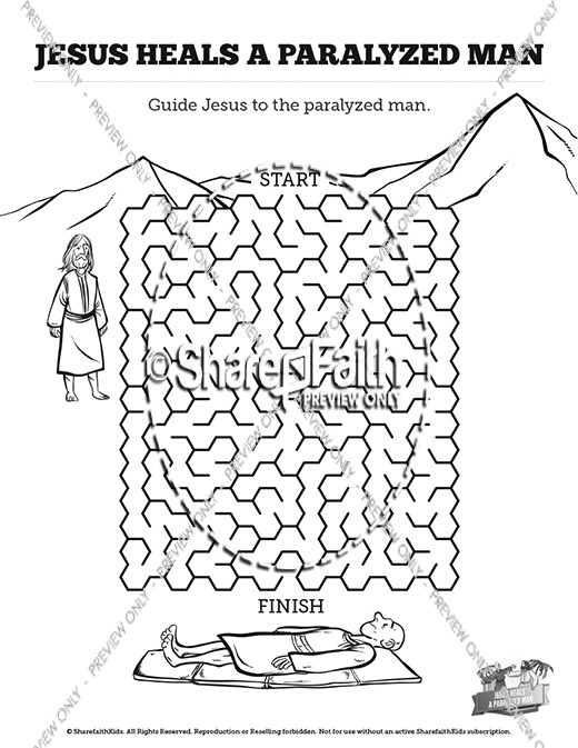 Luke 5 jesus heals the paralytic bible video for kids for Jesus heals a paralytic coloring page