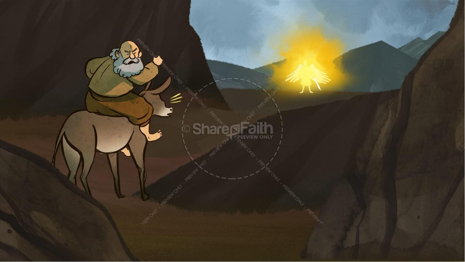 Numbers 22 Balaam's Donkey Kids Bible Stories | slide 5