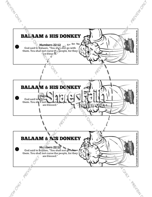 Numbers 22 Balaam's Donkey Bible Bookmarks