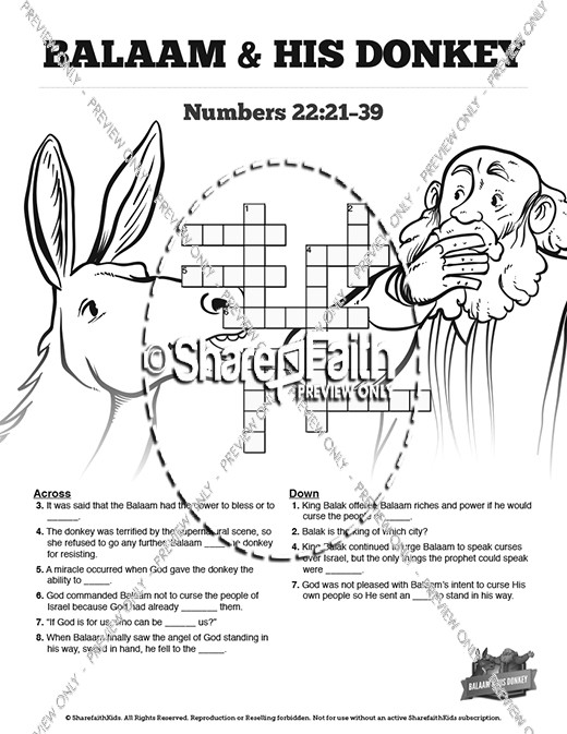 Numbers 22 Balaam's Donkey Sunday School Crossword Puzzles