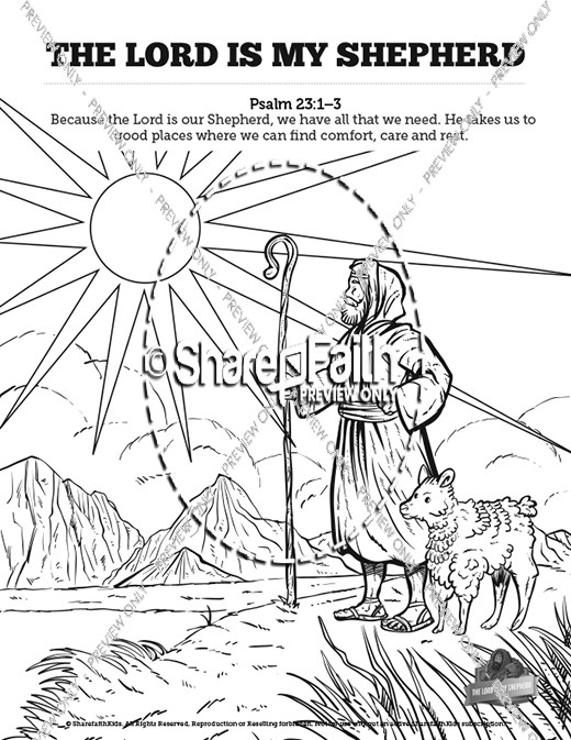 Psalm 10 The Lord Is My Shepherd Sunday School Coloring Pages ...