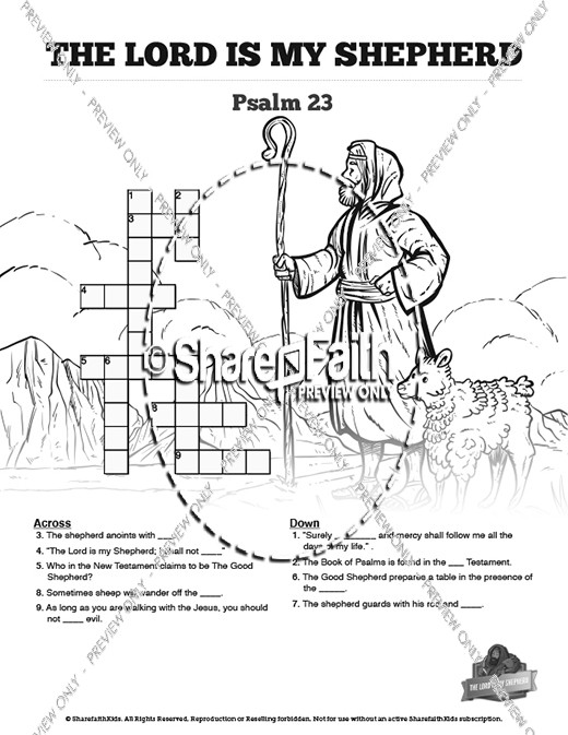 Psalm 23 The Lord Is My Shepherd Sunday School Crossword Puzzles
