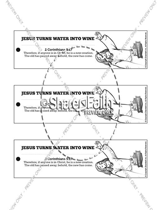 Jesus Turns Water Into Wine Bible Bookmarks