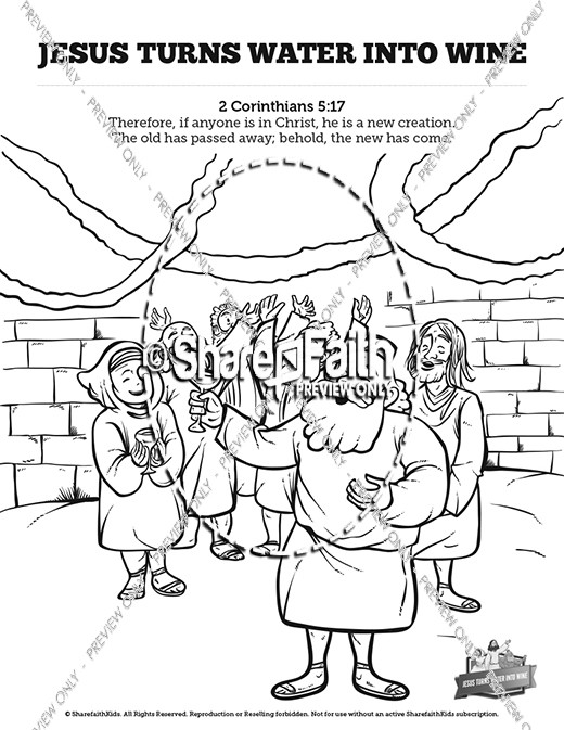 Coloring Pages For Jesus Turning Water Into Wine : Jesus turns water into wine sunday school coloring pages
