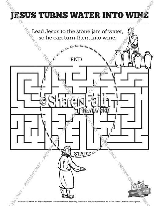 Jesus Turns Water Into Wine Bible Mazes