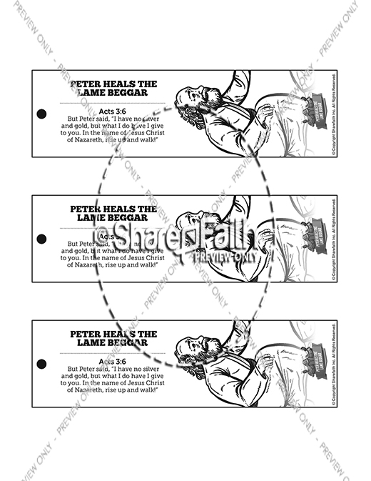 Acts 3 Peter Heals the Lame Man Bible Bookmarks
