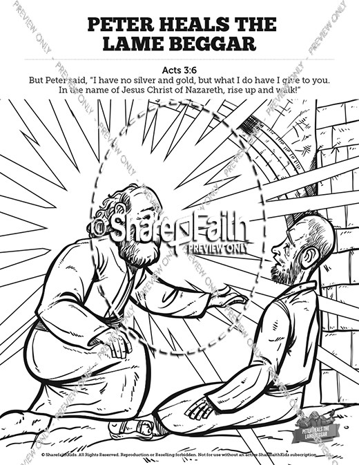 Acts 3 Peter Heals the Lame Man Sunday School Coloring Pages