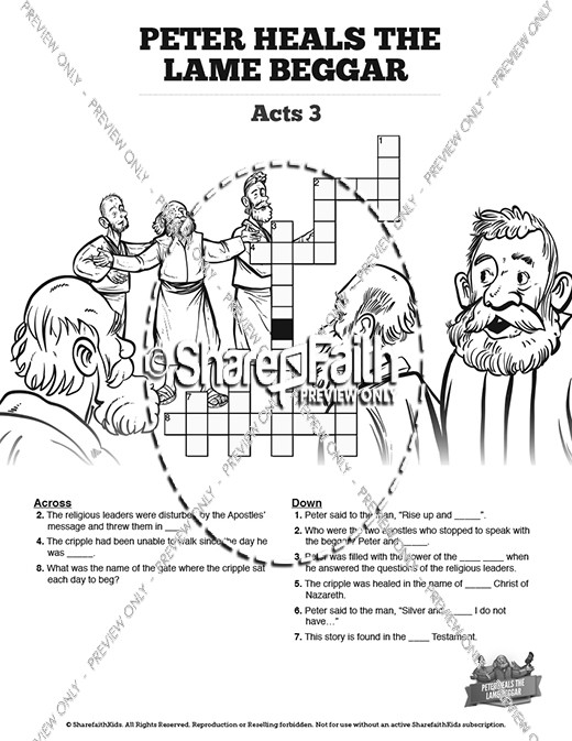 Acts 3 Peter Heals the Lame Man Sunday School Crossword Puzzles