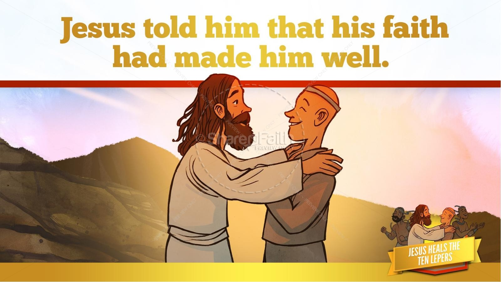 Luke 17 Ten lepers Kids Bible Story | slide 28