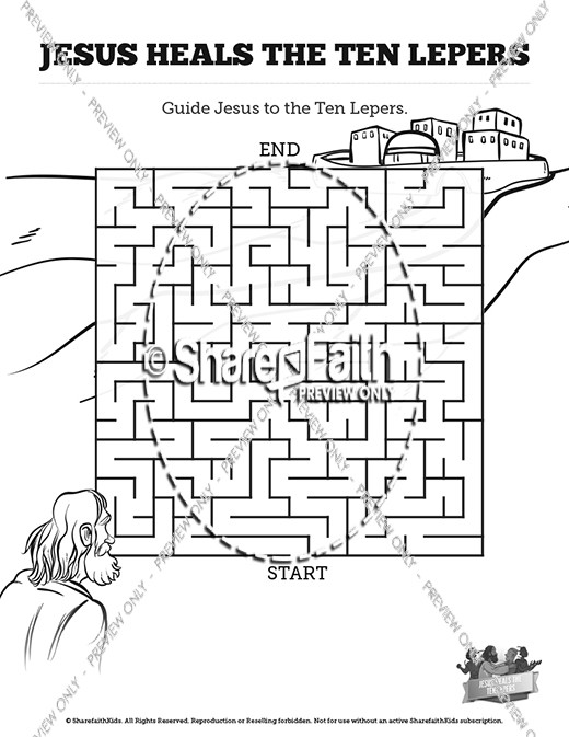 Luke 17 Ten lepers Bible Mazes
