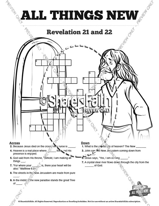 Revelation 21 All Things New Sunday School Crossword Puzzles