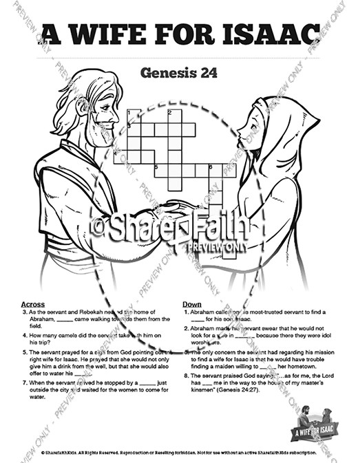 Genesis 24 Isaac and Rebekah Sunday School Crossword Puzzles
