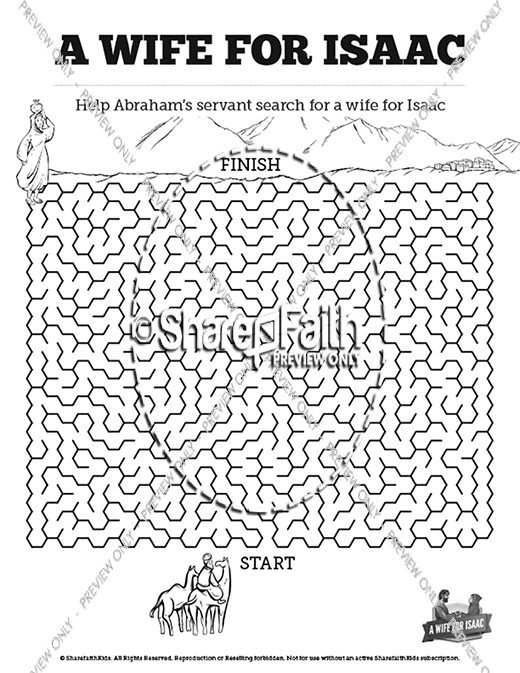 Genesis 24 Isaac and Rebekah Bible Mazes