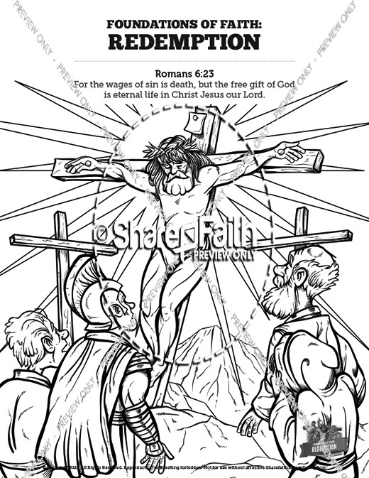 Romans 6 Redemption Sunday School Coloring Pages