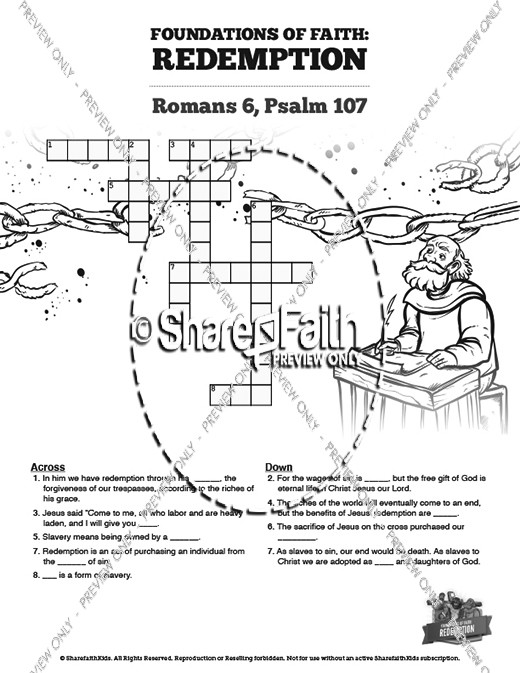 Romans 6 Redemption Sunday School Crossword Puzzles
