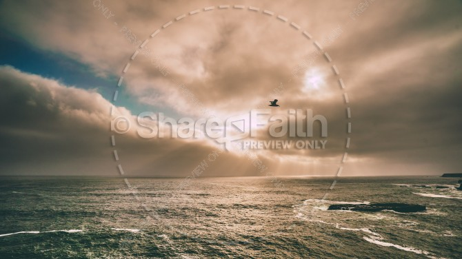 Ocean Sunset Obscured by Clouds Religious Stock Image